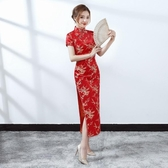 特價新款紅色新娘敬酒長旗禮儀服裝迎賓短袖修身旗袍錦緞剪彩年會