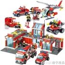 兼容消防總局城市警察系列拼裝車益智玩具積...