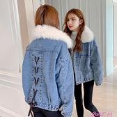 2021新款牛仔外套女加絨加厚毛領寬鬆韓版冬季羊羔絨毛棉服短款潮 JUST M