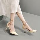 尖頭單鞋女2020新款春季時尚小清新一字帶鉚釘法式細跟高跟鞋 LF6440【極致男人】