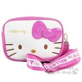 〔小禮堂]Hello Kitty 方形皮質織帶雙層拉鍊斜背包《桃白》小方包.外出包.隨身包 4710810-64722
