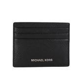 Michael Kors Harrison 十字紋皮革卡片票夾(黑色)