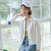 牛仔外套牛仔外套春秋季女正韓寬鬆復古薄款白色工裝小夾克女短款