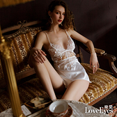 【樂愛】雕花美背緞面開叉居家睡衣罩衫連身網襪吊帶襪死庫水二件式-黑色白色紅色(共三色)