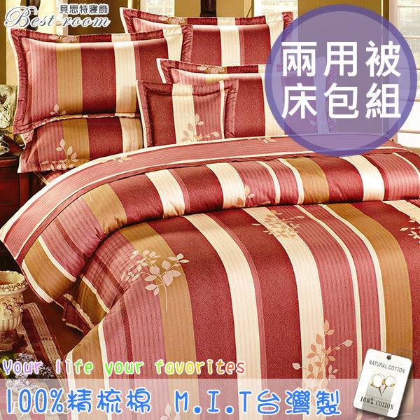 鋪棉床包 100%精梳棉 全舖棉床包兩用被四件組 雙人5*6.2尺 Best寢飾 FJ645