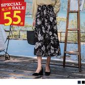 《BA4437》優雅感印花鬆緊綁帶寬版褲 OrangeBear