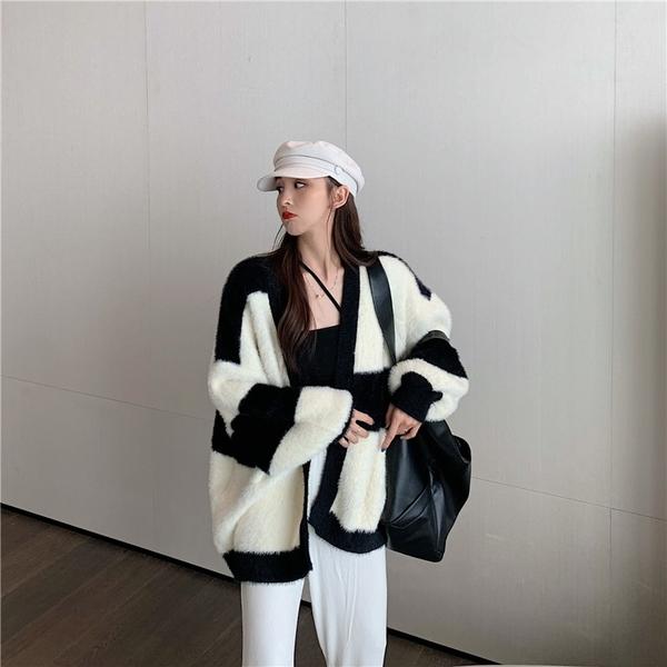 針織開衫 毛衣女條紋寬松外穿加厚針織衫上衣韓版毛絨開衫外套