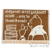 〔小禮堂〕迪士尼 小熊維尼 毛巾腳踏墊《米棕.書本》45x60cm.浴墊.地墊 4548266-44187