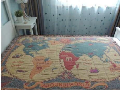 世界地圖毛毯 純棉線客廳地墊【藍星居家】