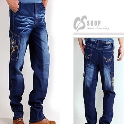 CS衣舖.側口袋 日系刺繡 造型刷色 中直筒 伸縮牛仔褲 工作褲 M-5L 7026