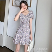短洋裝 短袖碎花短洋裝女夏季新款收腰顯瘦方領荷葉邊少女泡泡袖短裙  【快速出貨】