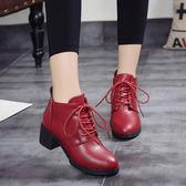 春季新款女士中跟馬丁靴英倫單鞋女高跟女鞋粗跟系帶短靴【全館滿一元八五折】