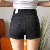 春夏高腰牛仔短褲女 歐美修身顯瘦彈力提臀緊身熱褲 aa高腰短褲女