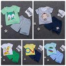 嬰兒短袖套裝 短袖上衣 +短褲 寶寶童裝...