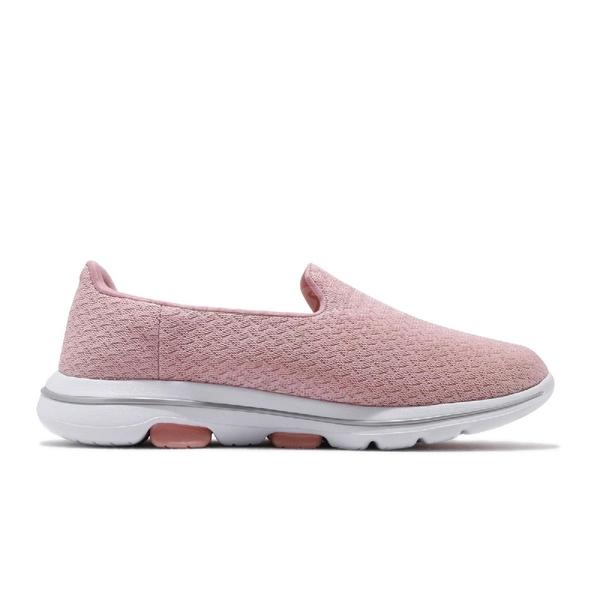 Skechers 休閒鞋 Go Walk 5-Garland Wide 粉紅 白 女鞋 寬楦頭 套入式 懶人鞋 【ACS】 124002WPNK