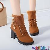 粗跟鞋 馬丁靴女2021新款秋款粗跟水鉆裝飾短靴女秋冬季中跟深色鞋女靴子 寶貝計畫