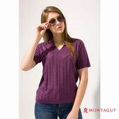 女款短袖POLO衫 夢特嬌法國製造亮絲系列 時尚蝴蝶印花-紫色