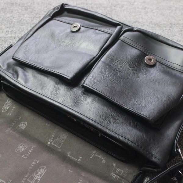 threebox男包復古學生書包潮牌側背包商務休閒斜背包男皮包IPad包 韓國時尚週 免運