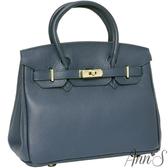 Ann'S經典時裝配件-頂級牛皮全真皮2way大型凱莉柏金包 -深藍
