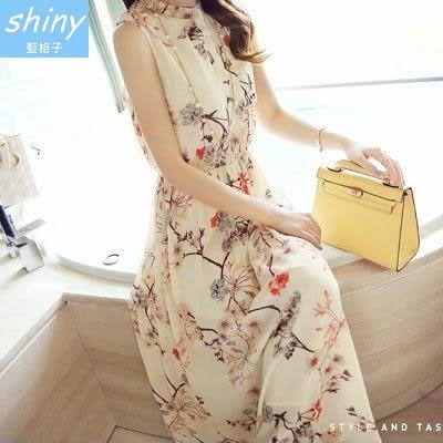 【V9652】shiny藍格子-氣質輕甜.夏碎花雪紡波西米亞無袖連身裙