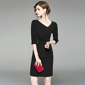 洋裝-中袖斜領純色釘珠顯瘦女連身裙73of87[巴黎精品]