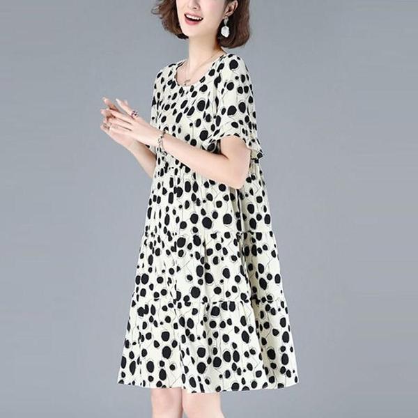 波點雪紡短袖洋裝/連衣裙大碼2021新款夏寬鬆顯瘦遮肚氣質流行圓 快速出貨