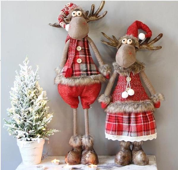 聖誕節可愛創意麋鹿雪人老人伸縮前臺公仔擺件聖誕樹裝飾品 聖誕節鉅惠