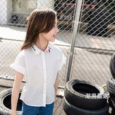 短袖襯衫女童2018夏裝新品女中童短袖襯衫棉質喇叭袖