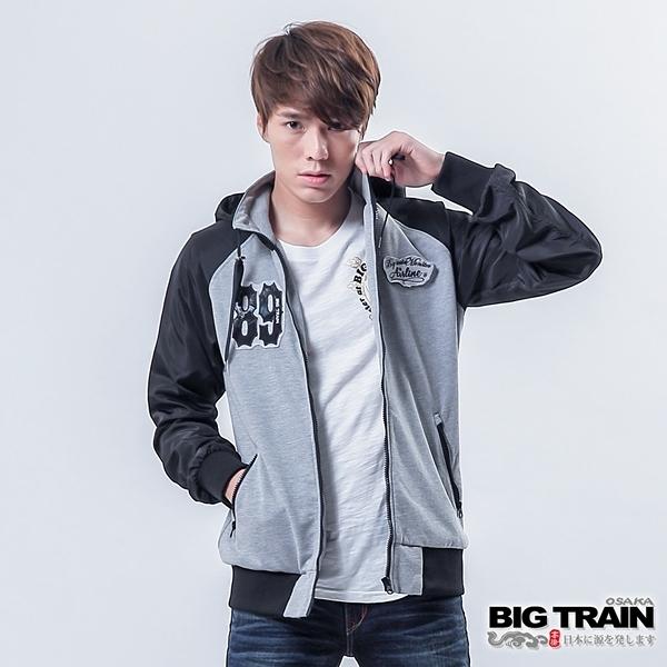 BIG TRAIN 配色棒球外套-男-麻色/黑