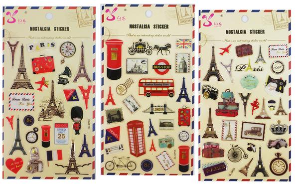 【卡漫城】 英倫風 水晶 貼紙 3張1組 ㊣版 郵筒 巴黎鐵塔 雙層巴士 皇家 郵票 飛機 旅行 行李箱