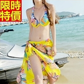 比基尼-音樂祭夏日沙灘浪漫披紗|三件式泳衣-67h22【時尚巴黎】
