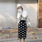 (全館一件免運)DE SHOP~(D-6166)點點針織半身裙女秋季2018新款修身顯瘦學生百搭中長款包臀裙