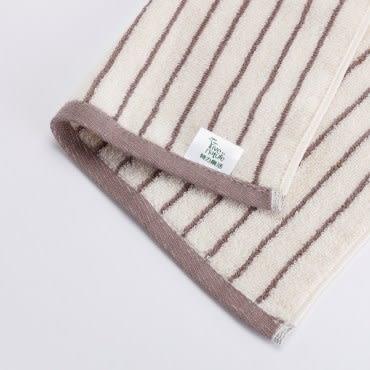 有機棉簡約條紋方巾-寧靜棕