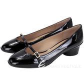 Salvatore Ferragamo AUDREY 40 漆皮粗跟鞋(黑色) 1530516-01