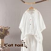 《貓尾巴》JP-03648 甜美印花彩色包扣木耳邊短袖上衣(森林系 日系 棉麻 文青 清新)