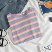 韓版上衣彩虹條紋短袖T恤女夏新款寬鬆學生半袖打底衫 亞斯藍生活館