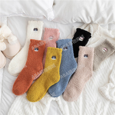 秋冬季襪子女珊瑚絨睡覺可愛卡通加厚毛絨保暖月子家居地板睡眠襪