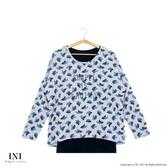 【INI】優雅率性、優美印花可拆式假兩件上衣.粉色