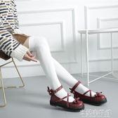 日系lo娘lo娘厚底女鞋可愛蝴蝶結圓頭娃娃鞋原宿平底軟妹皮鞋 米蘭潮鞋館