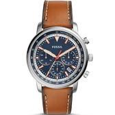 【台南 時代鐘錶 FOSSIL】FS5414 古德溫 Goodwin質感品味三眼計時手錶 皮帶 藍/銀 44mm