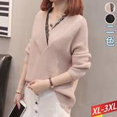 大V領拼蕾絲針織上衣(2色) XL~3XL【132782W】【現+預】☆流行前線☆