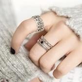 情侶戒指 寬面黑寶石十字架指環復古創意簡抖音同款戒s925純銀學生情侶戒指 交換禮物