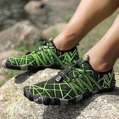 大碼 夏季速干涉水鞋男女防滑沙灘鞋漂流浮透氣防滑登山鞋水陸兩棲鞋35-46 aj13593『黑色妹妹』