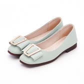 MICHELLE PARK 氣質公主 柔軟牛皮蝴蝶結方形飾扣包鞋-湖水綠