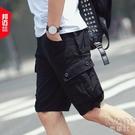 夏季男士短褲五分褲中褲大碼迷彩工裝褲多口袋休閒褲子青年5分褲 快速出貨