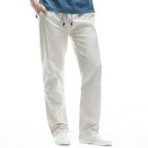 夏季薄款透氣棉麻褲男松緊直筒亞麻褲男寬鬆青年休閒麻布長褲大碼