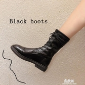 短靴鬆糕鞋ann女新款百搭秋冬ins網紅帥氣短靴英倫風機車靴加絨潮 易家樂