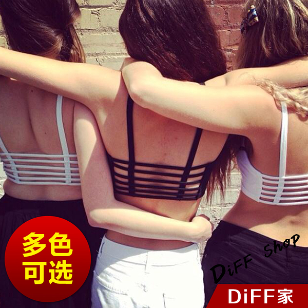 【DIFF】歐美性感露背短款莫代爾背心 純棉美背帶胸墊小可愛背心 舒適好穿內衣 真心推薦【V42】
