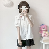 自制 少女可愛貓咪刺繡娃娃領短袖襯衫女夏季軟妹學生泡泡袖上衣0 幸福第一站