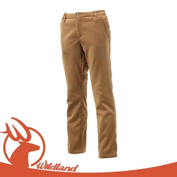 【Wildland 荒野 女 彈性針織直筒暖長褲《深卡其》】0A12361/透氣機能長褲/保暖長褲/立體修身長褲